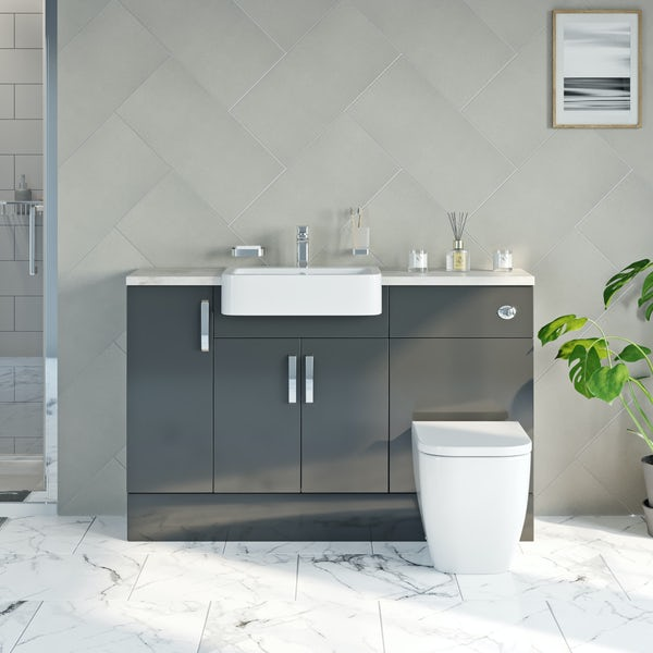 Mode Nouvel gloss grey small fitted furniture combination with beige worktop