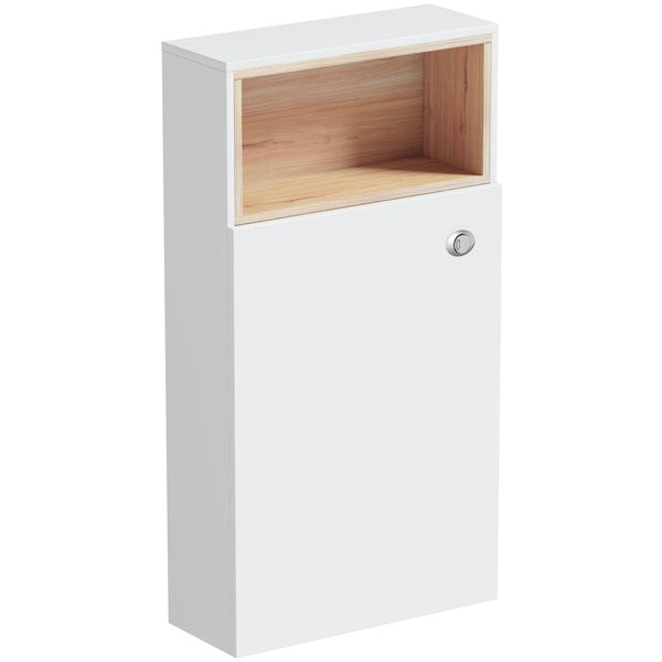 Tate white & oak back to wall toilet unit