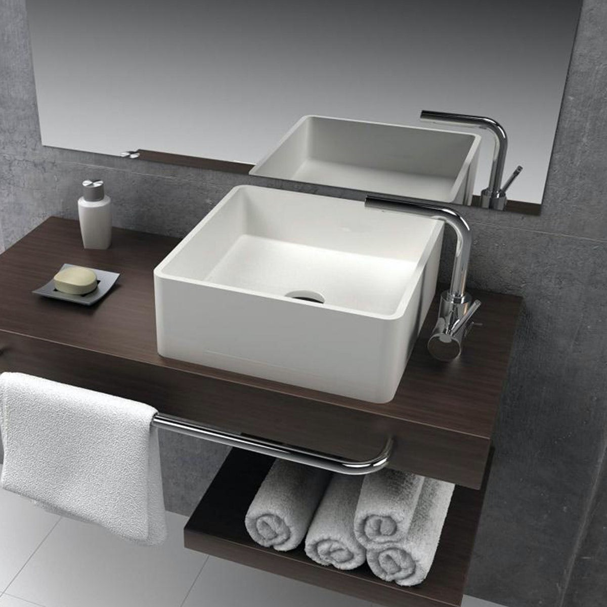 Belle de Louvain Carpi solid surface stone resin square counter top basin 400mm