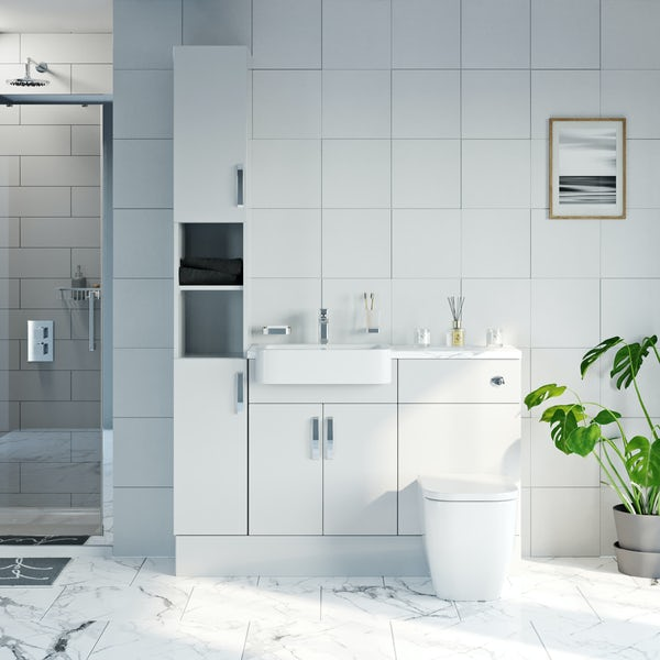 Mode Nouvel gloss white tall fitted furniture combination with white marble worktop