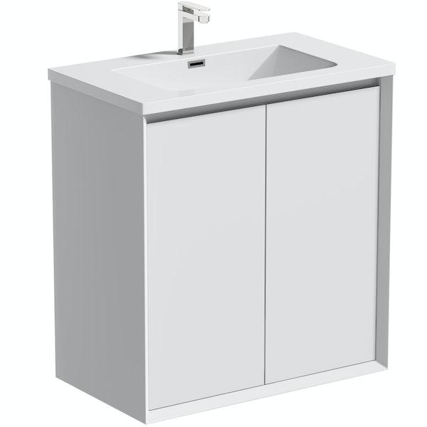 Mode Larsen white gloss floorstanding vanity unit and basin 800mm