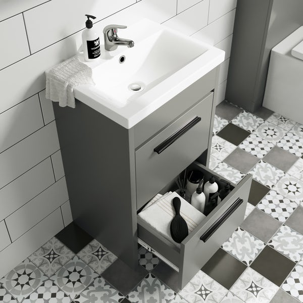Clarity Compact satin grey floorstanding vanity unit with black handle and basin 410mm