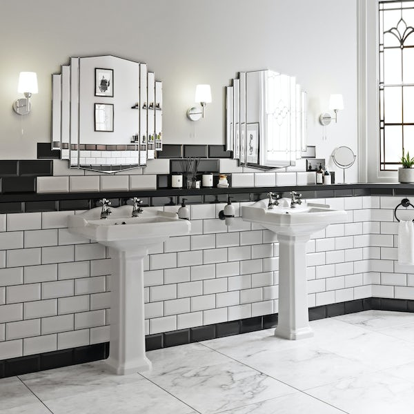 The Bath Co. Winchester black handle basin and bath shower mixer taps pack