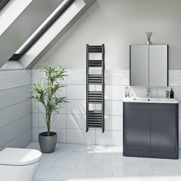 Mode Carter charcoal black heated towel rail 1400 x 300mm