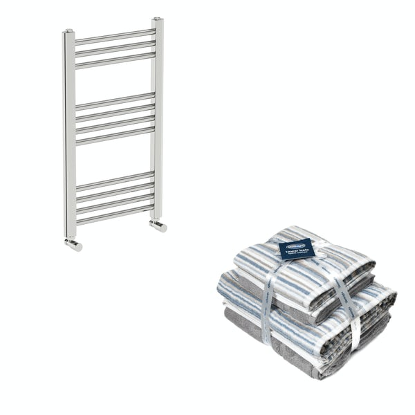 Orchard Eden round chrome heated towel rail 700x400 with Silentnight Zero twist grey 4 piece towel bale