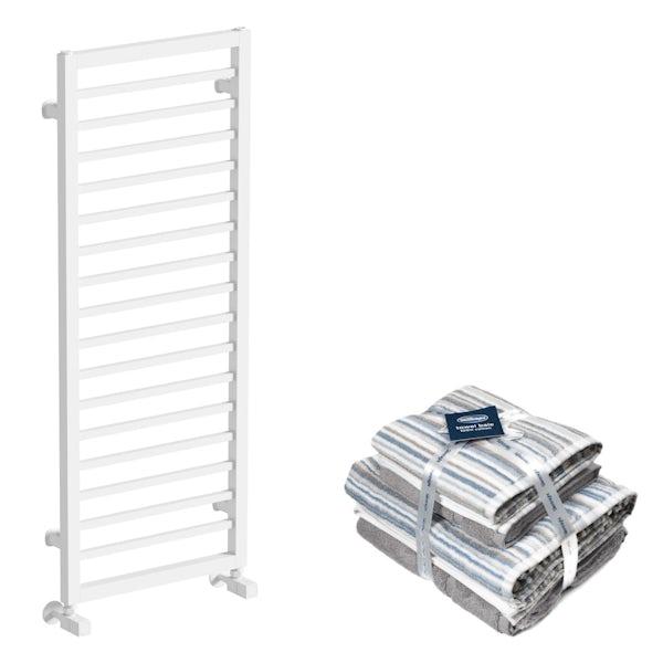 Mode Burton white heated towel rail 1150x450 with Silentnight Zero twist grey 4 piece towel bale