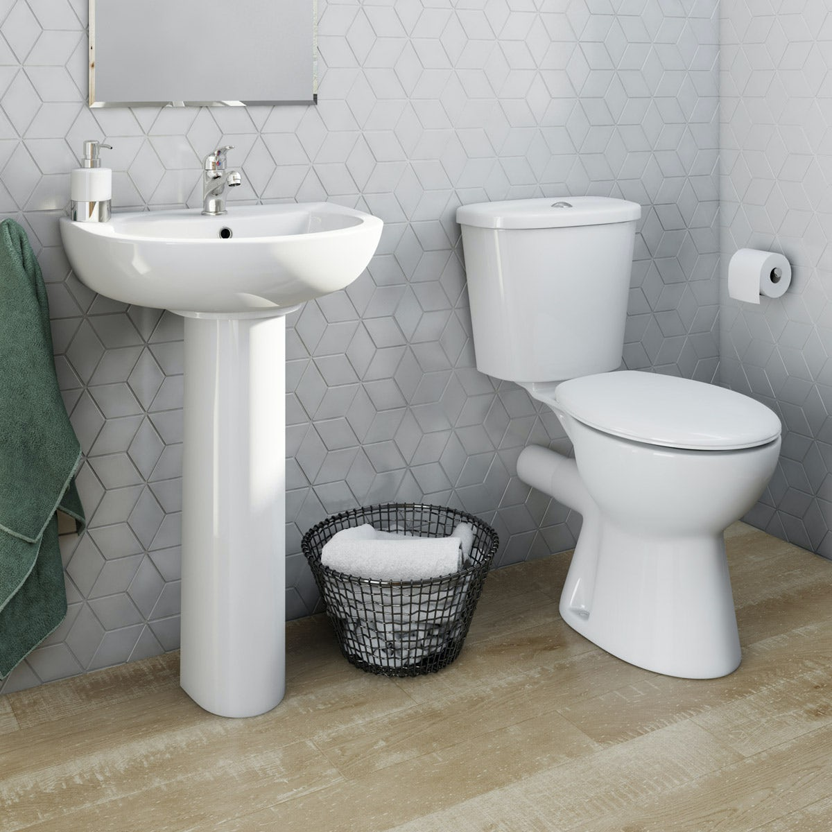 Modern White Close Coupled Toilet with Seat /& Cistern 420mm Full Pedestal Basin Sink Ceramic Bathroom Suite Set