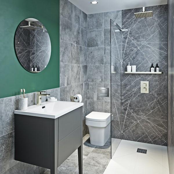 Mode Hale Grey Stone Matt Wall Hung Vanity Unit And Basin