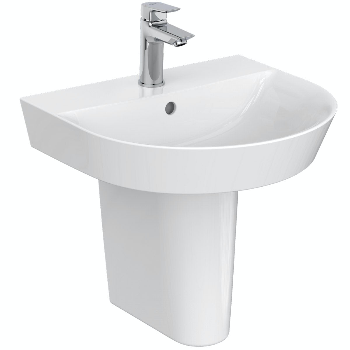 Ideal Standard Concept Air Arc 1 tap hole semi pedestal basin 500mm