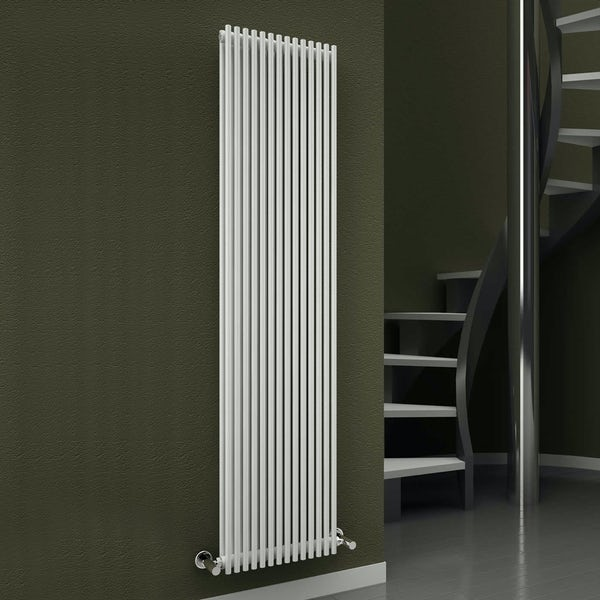 Reina Tube white double steel designer radiator 1800 x 350mm