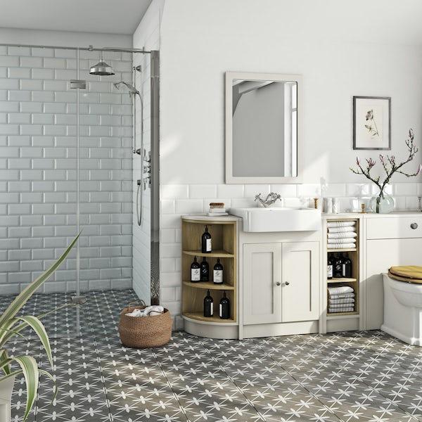 The Bath Co. Dulwich stone ivory open storage corner unit