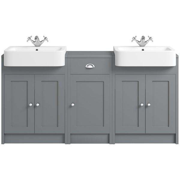 The Bath Co. Dulwich stone grey double basin & storage combination