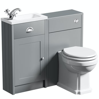 The Bath Co. Dulwich stone grey cloakroom combination with white wooden seat