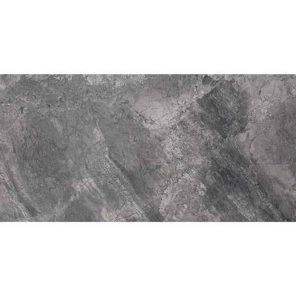 Fusion charcoal marble effect gloss wall and floor tile 300mm x 600mm