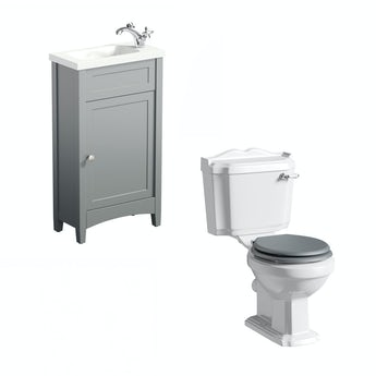 The Bath Co. Camberley satin grey cloakroom unit with traditional close coupled toilet