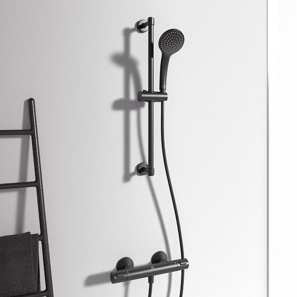 Ideal Standard Idealrain silk black sliding shower rail kit with round handspray