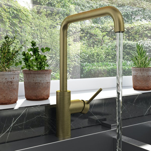 Schön Skye L spout brushed brass kitchen mixer tap