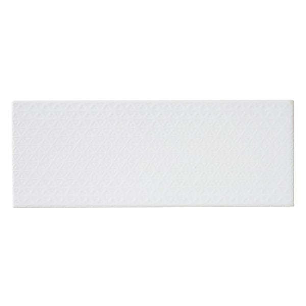 Glacier white textured feature gloss wall tile 150mm x 400mm