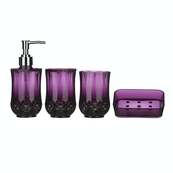 Cristallo purple 4pc bathroom accessory set