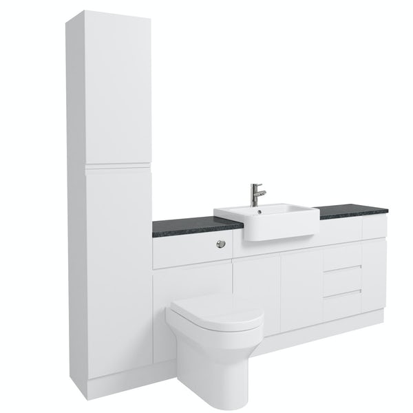 Orchard Wharfe white straight large storage fitted furniture pack with black worktop