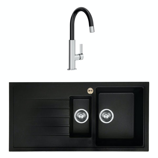 Bristan Gallery quartz left handed black easyfit 1.5 bowl kitchen sink with Melba black tap