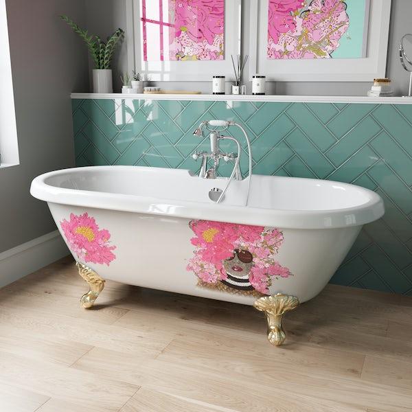 Louise Dear Kiss Kiss Bam Bam roll top freestanding bath with gold claw feet