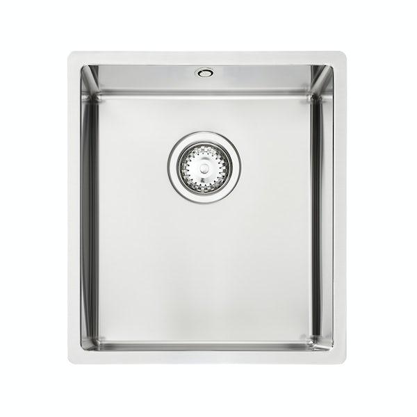 Tuscan Sovana Premium brushed steel 1.0 bowl square kitchen sink