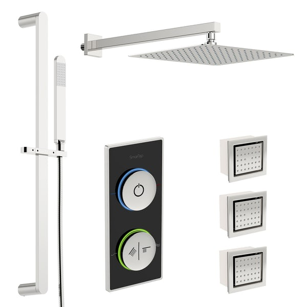 SmarTap black smart shower system with complete square wall shower set