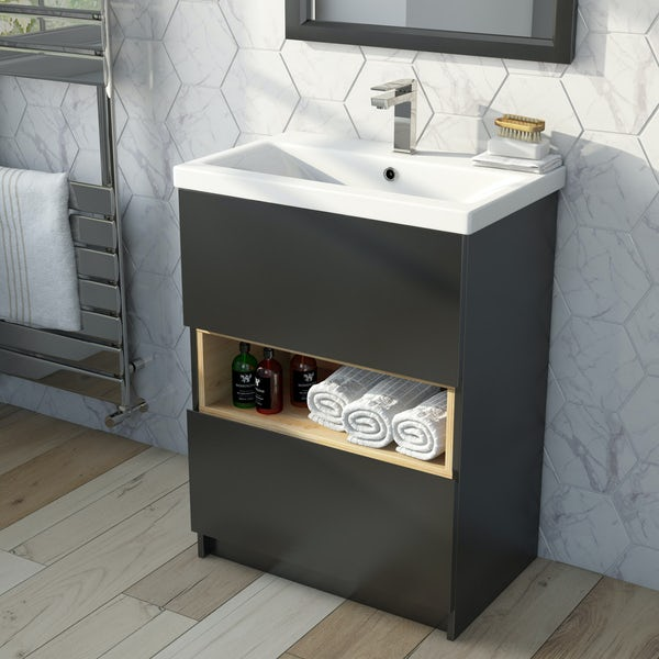 Mode Tate anthracite black & oak vanity unit with basin 600mm