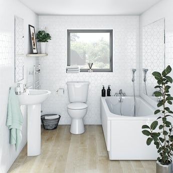 Clarity bathroom suite with straight bath