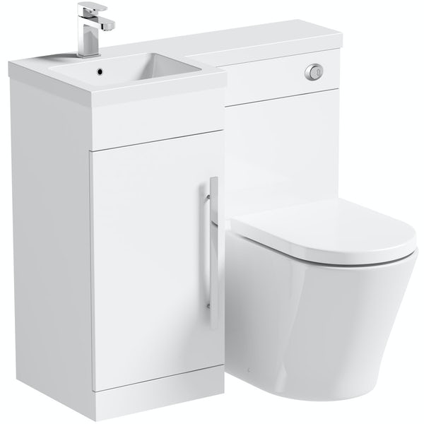 Orchard MySpace white left handed combination with contemporary back to wall toilet and seat
