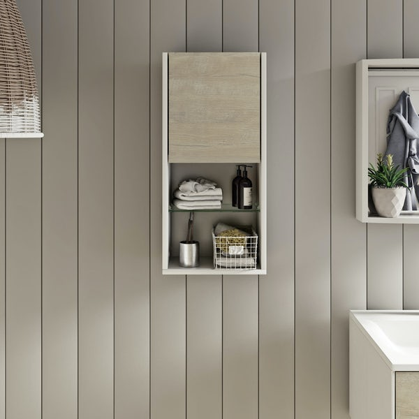 Mode Burton white & rustic oak wall storage unit 330mm