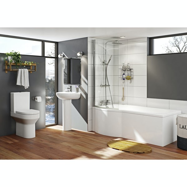 Orchard Wharfe bathroom suite with left handed P shaped shower bath 1675 x 850
