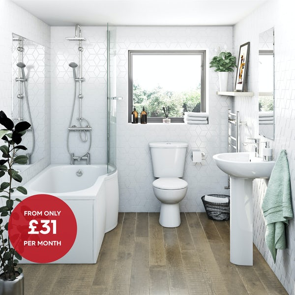 Clarity bathroom suite with right handed P shaped shower bath, shower and taps