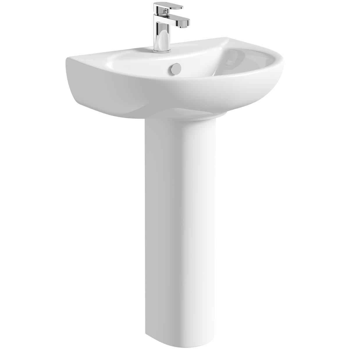 Orchard modern 1 tap hole full pedestal basin 540mm