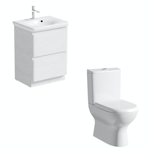 Mode Heath close coupled toilet and white vanity unit suite 600mm