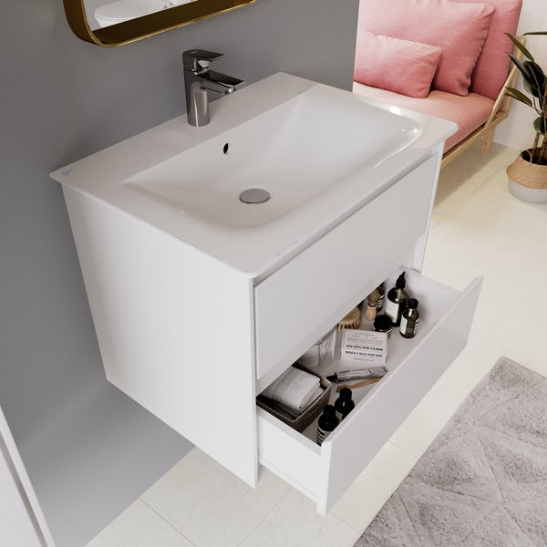 Ideal Standard Concept Air gloss and matt white wall hung vanity unit and basin 600mm