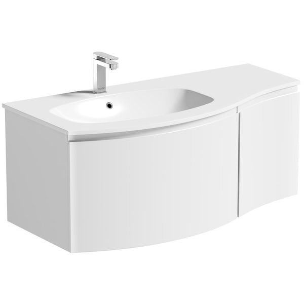 Mode Harrison white left handed wall hung vanity unit and basin 1000mm with tap