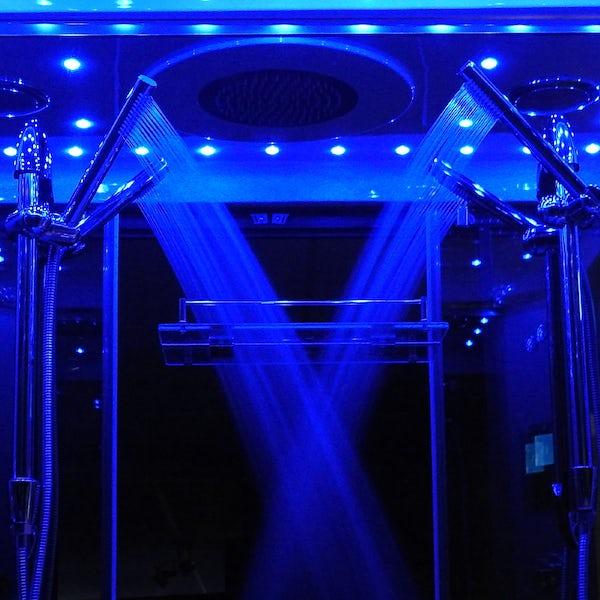 Insignia Platinum chrome framed rectangular twin steam shower cabin 1400 x 900