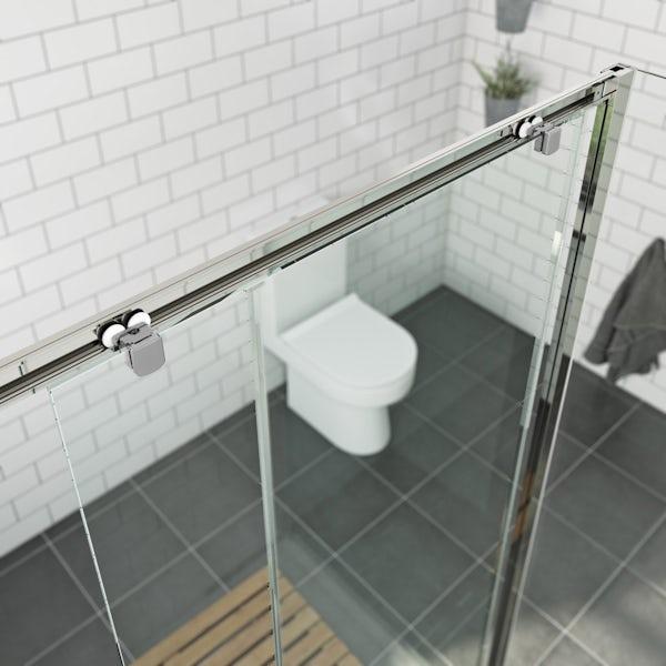 Orchard 6mm framed sliding shower enclosure with Mode Harrison thermostatic triple valve shower set
