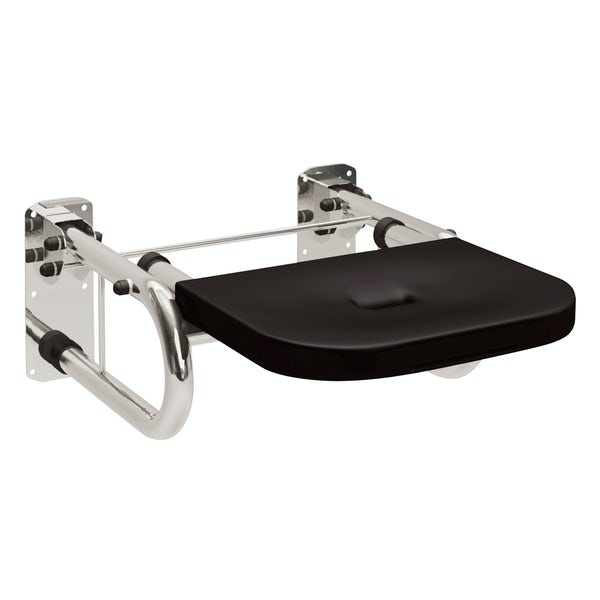Dolphin commercial Doc M compliant stainless steel shower seat with black seat with mirror polish finish