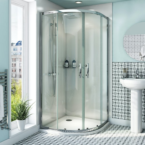 Orchard 6mm quadrant shower enclosure with anti-slip tray