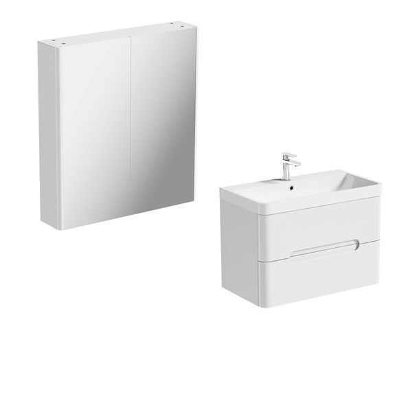 Mode Ellis white wall hung vanity unit 800mm and mirror cabinet offer