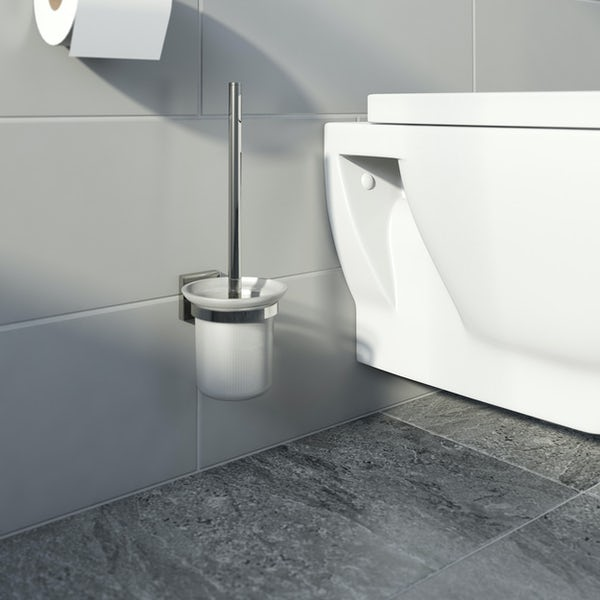 Accents square plate contemporary toilet brush and holder