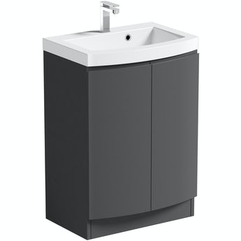 Mode Harrison slate gloss grey floorstanding vanity door unit and basin 600mm