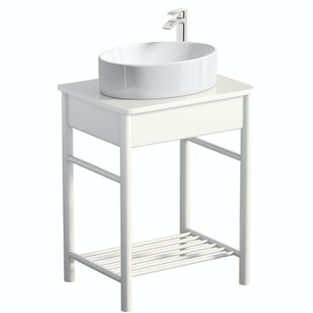 Mode South Bank white washstand and top 600mm with Hardy countertop basin, tap and waste