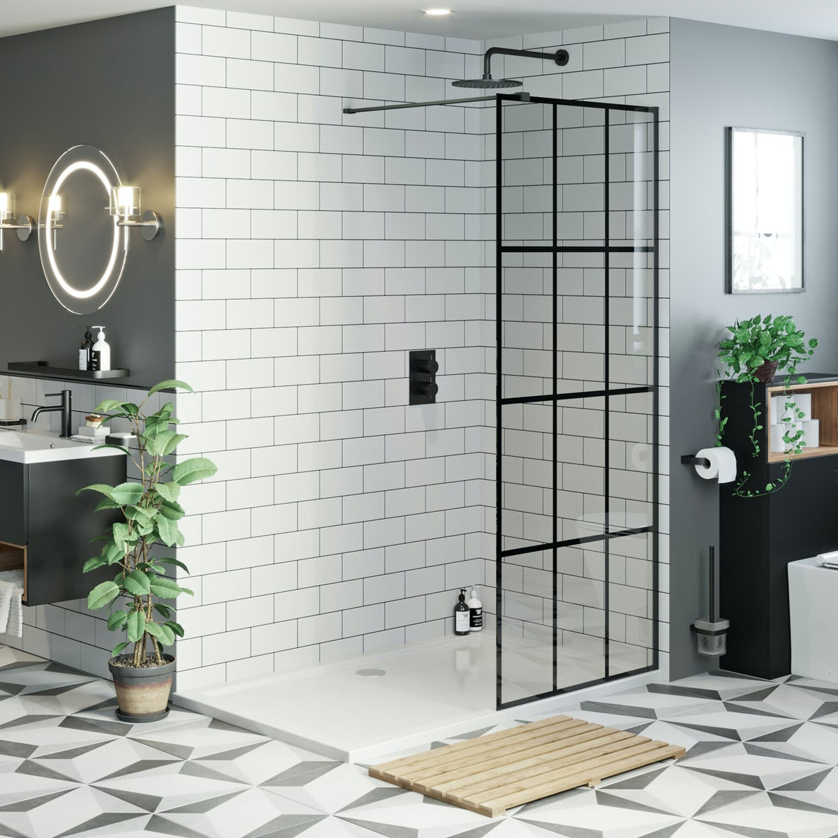 mode 8mm black framed panel with stone shower tray 1200 x