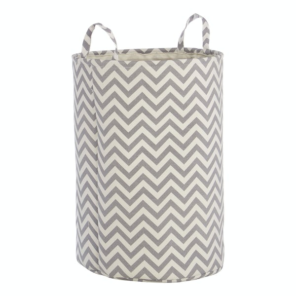 Accents Chevron grey and white laundry hamper