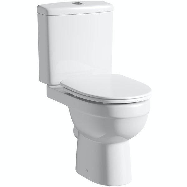 Eden close coupled toilet with luxury soft close seat