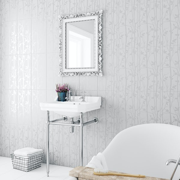 Laura Ashley Cottonwood feature field white wall tile 248mm x 498mm